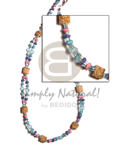 Philippine 2-liner necklace mahogany blue pastel color necklace