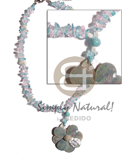 Natural pink aqua blue stone pastel color necklace