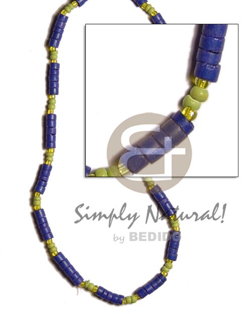 Native 4-5mm navy blue coco heishe pastel color necklace