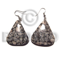 Natural dangling triangular shape corals 40mmx35mm resin earrings
