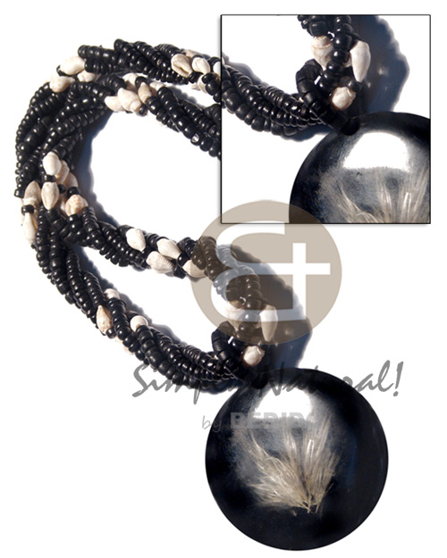 Native 4 layers 4-5mm coco black resin necklace stone necklace