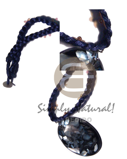Handmade braided navy blue satin cord resin necklace stone necklace