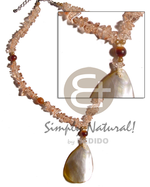 Native clear stone crystals in brown resin necklace stone necklace