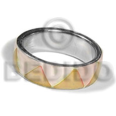 Wholesale inlaid hammershell in stainless 10mm rings