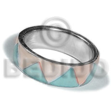 Fashion inlaid hammershell in stainless 10mm rings