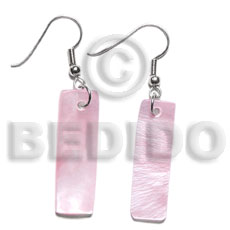 Fashion dangling 30x10mm pastel pink hammershelll seed earrings