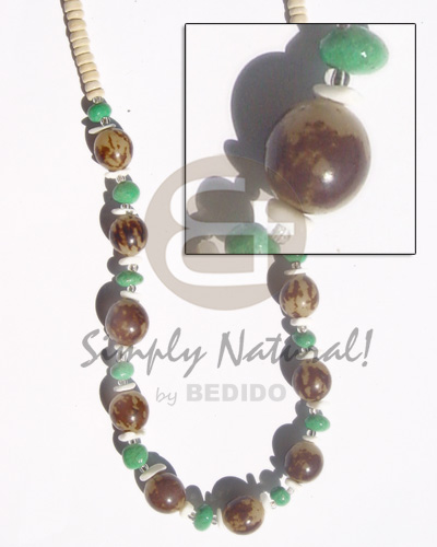 Unisex 10 mm buri beads green seeds necklace