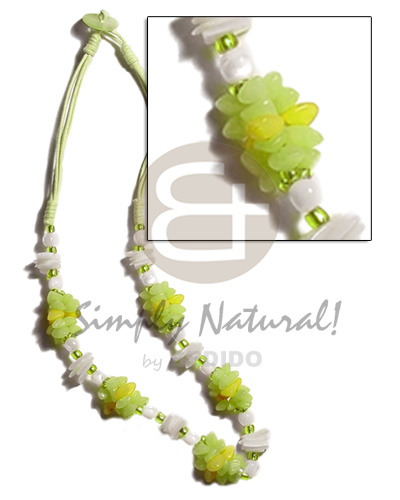 Teens lime green 3 layer wax seeds necklace