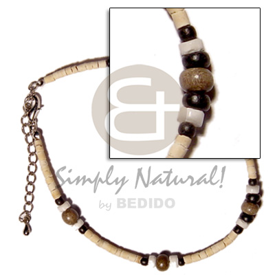 Ladies 2-3mm coco pokalet. bleach black shell anklets