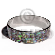 Ethnic laminated paua blocking in 3 4 shell bangles