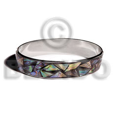 Native laminated inlaid crazy cut paua shell bangles