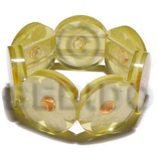 Philippine 30mm round yellow clear resin shell bangles