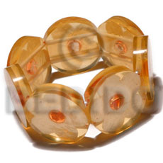 Philippine 30mm round bright orange clear shell bangles
