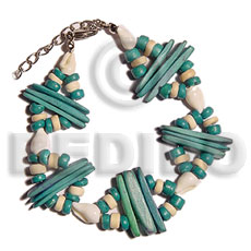 Wholesale 2 rows aqua green shell bracelets