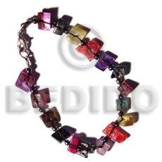 Ethnic floating multicolored hammershell shell bracelets