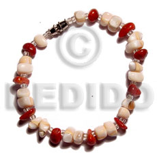 Native mosaic luhuanus red corals shell bracelets