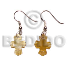Ladies dangling 17x14mm brown lip cross shell earrings