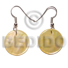 Teens dangling 35mm round mop shell earrings