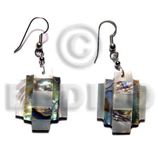 Handmade dangling overlapping abalone and troca shell earrings