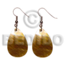 Ladies dangling teardrop brownlip 20mmx30mm shell earrings