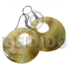 Native round goldlip donut earrings 40mm shell earrings