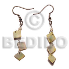 Native dangling 8mm mop triple shell earrings