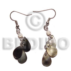 Cebu dangling 15mmx8mm triple teardrop blacklip shell earrings