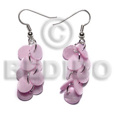 Teens dangling multiple pastel pink round shell earrings