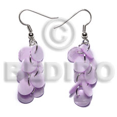 Natural dangling multiple lilac round 8mm shell earrings