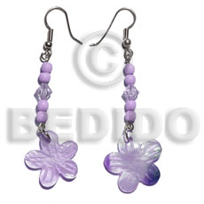 Natural dangling 20mm lilac hammershell flower shell earrings