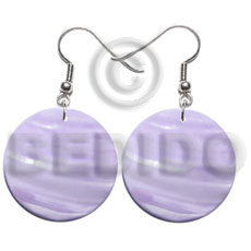 Native 30mm lilac round kabibe shell shell earrings
