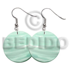 Cebu 30mm pastel green round kabibe shell earrings
