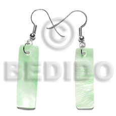 Philippine dangling 30x10mm pastel green hammershelll shell earrings