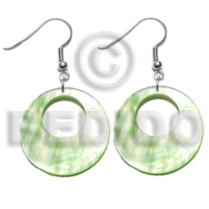 Cebu dangling 35mm pastel green shell earrings