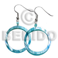 Ladies dangling aqua blue kabibe shell earrings