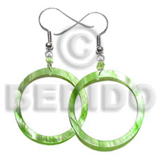 Ladies dangling lime green hammershell shell earrings
