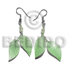 Handmade dangling double leaf pastel green shell earrings
