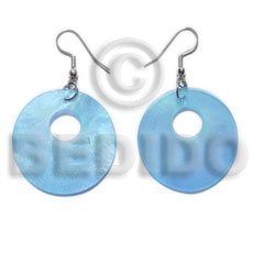 Wholesale dangling 35mm aqua blue hammershell shell earrings