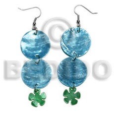Handmade dangling double round 25mm blue shell earrings