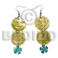Unisex dangling double round 25mm golden shell earrings