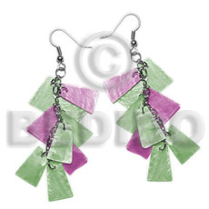Teens dangling subdued green lavender alt. 20mmx15mm shell earrings