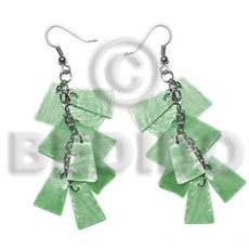 Ladies dangling subdued green 20mmx15mm capiz shell earrings