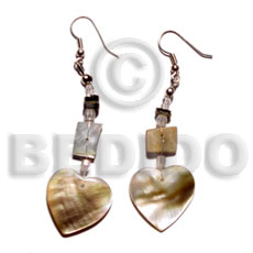 Philippines dangling 15mm brownlip heart shell earrings