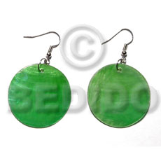 Wholesale dangling green kabibe round 30mm shell earrings