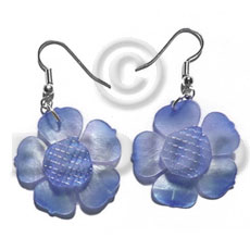 Philippines dangling graduated blue 30mm hammershell shell earrings