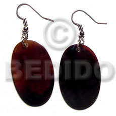 Natural dangling 40mmx30mm black tab oval shell earrings