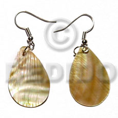 Natural dangling 30mmx25mm brownlip teardrop shell earrings