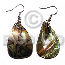 Fashion dangling 30mmx25mm paua abalone teardrop shell earrings