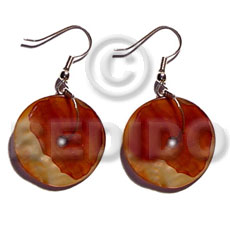 Wholesale dangling 25mm round mop shell earrings