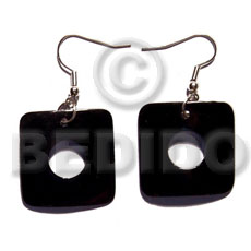 Natural dangling 35mm square black tab shell earrings
